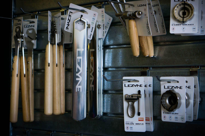 Display of bike tools at Auckland bike shop, CYCO