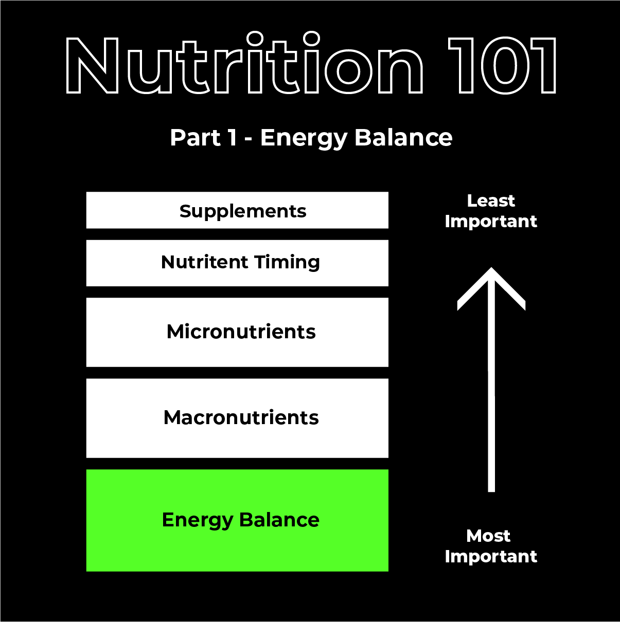 Ladder showing energy expenditure, macronutrients, micronutrients, nutrient timing and supplements as the 5 important building blocks of a nutrition plan. Energy Balance, highlighted in green, being the most important and supplements being the least important.