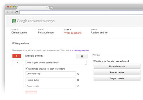 Google Consumer Survey Creator