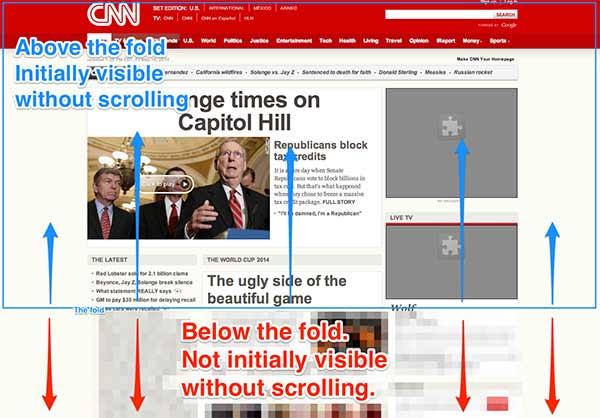 Screenshot of above the fold on CNN.com