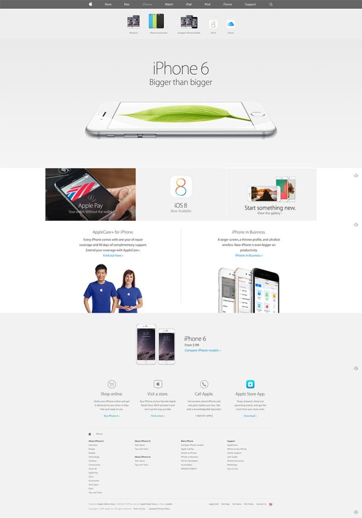 Apple's website with all the content. Looks pretty good, but more importantly, everything serves a function.