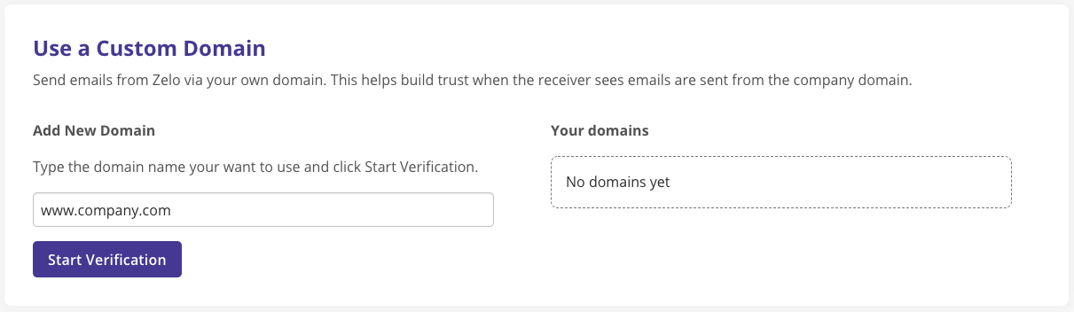 Screenshot of sender selection