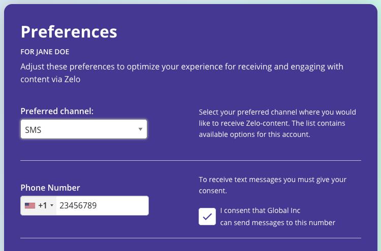 Screenshot of end-user preference settings
