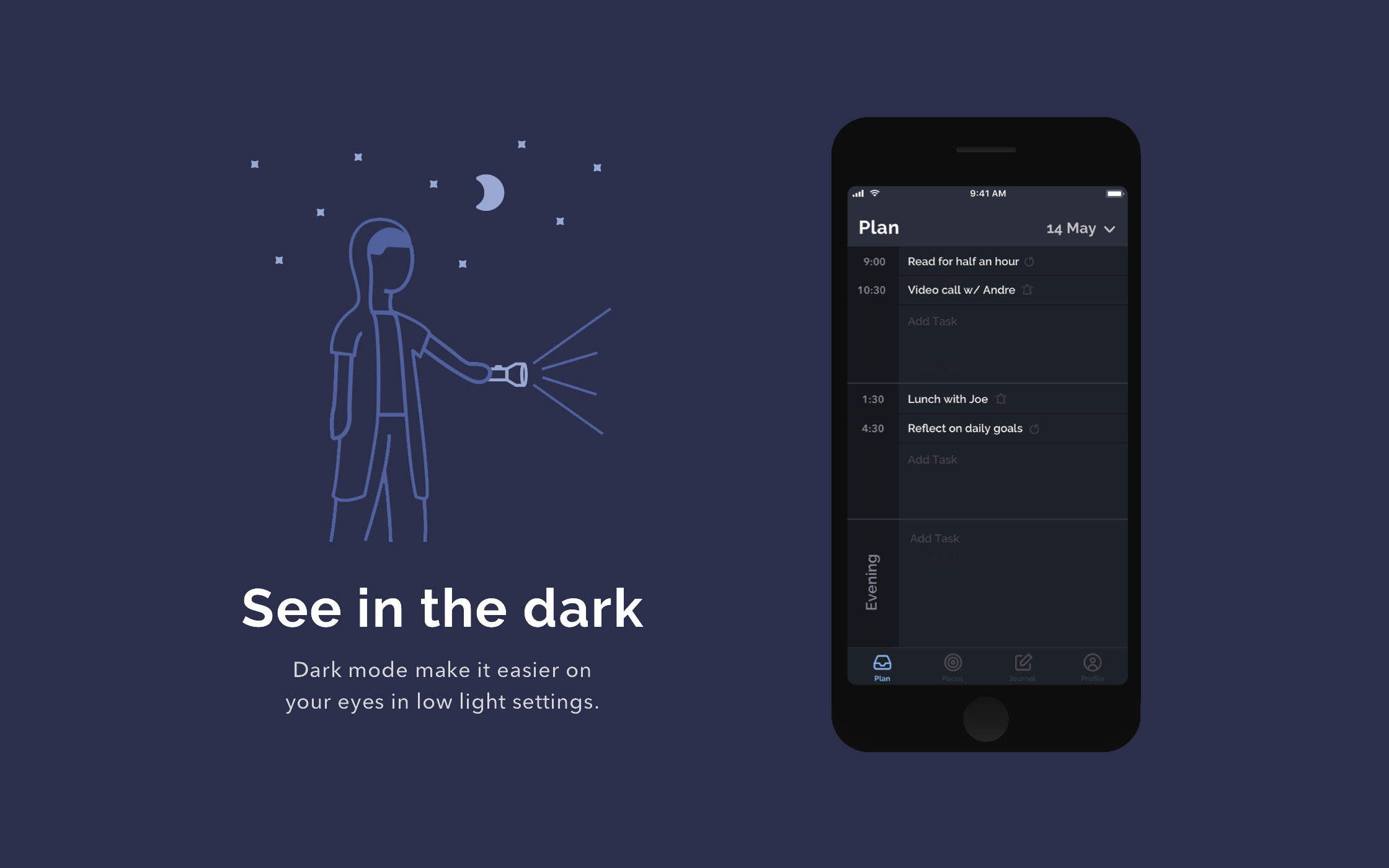 New Day App Concept Night Mode