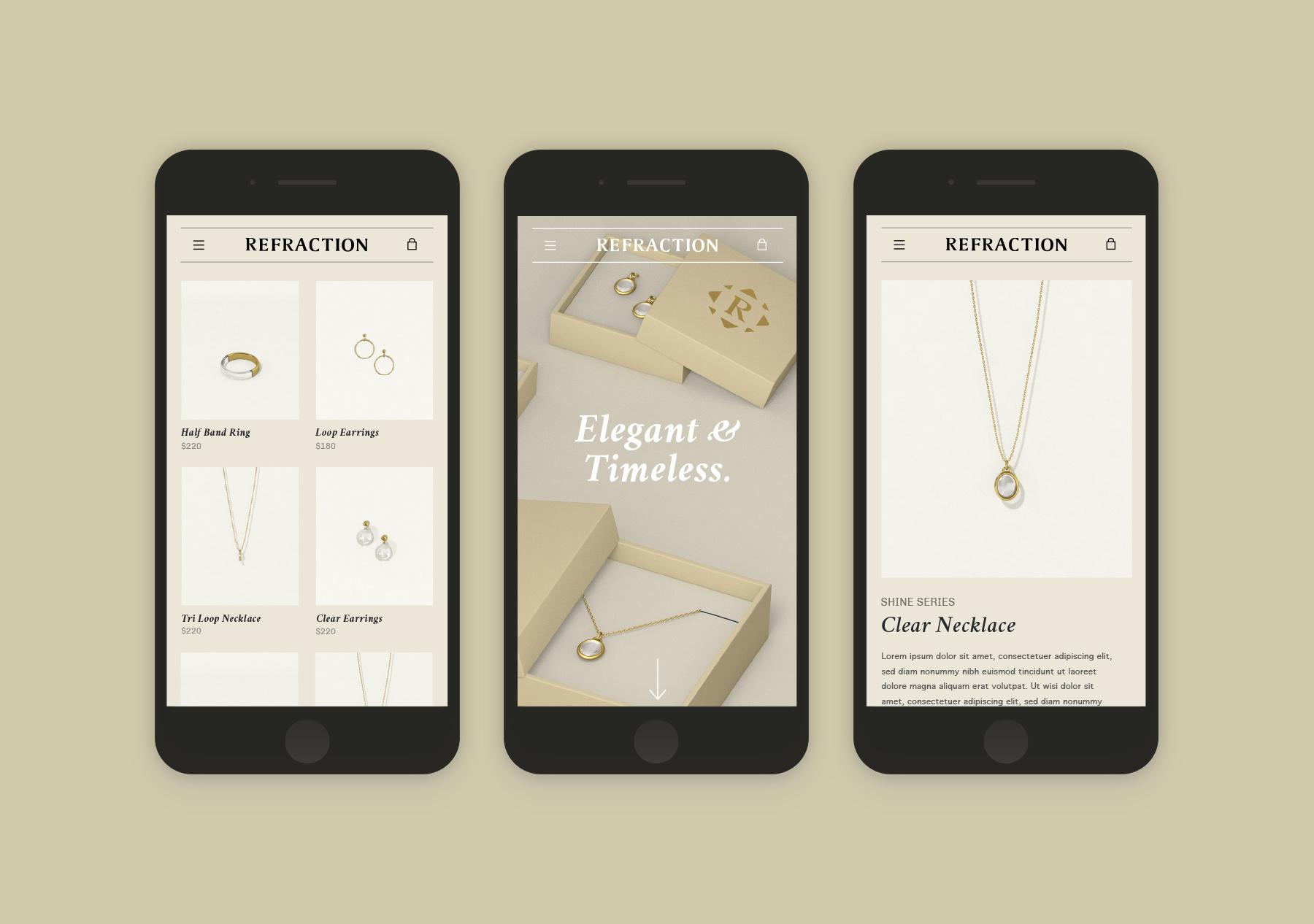 Refraction Website Concept Mobile Screens