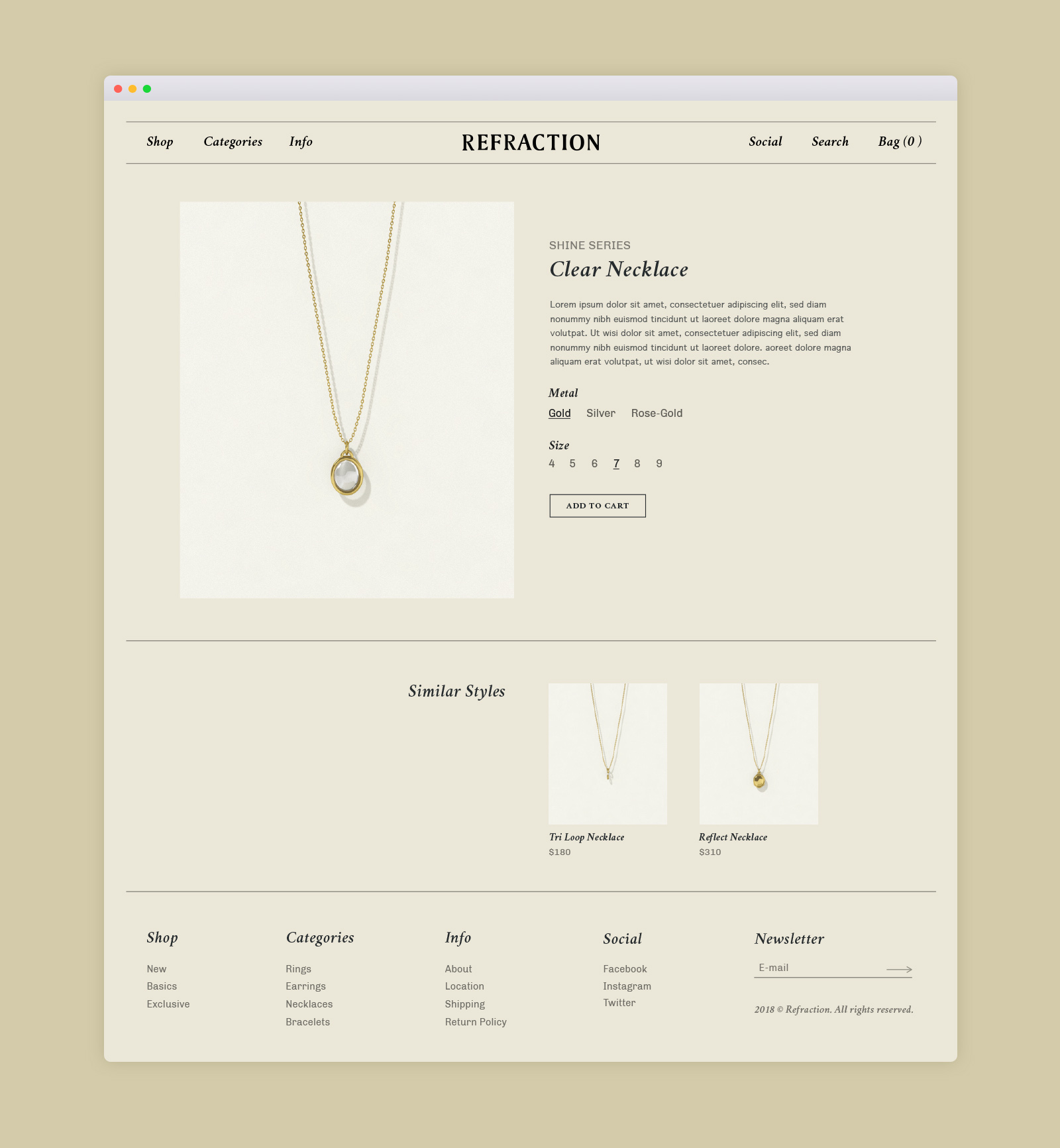 Refraction Website Concept Product Page