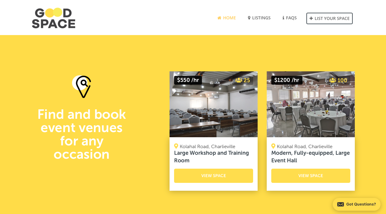 Find Good Space Trinidad website by Bold Move Studio