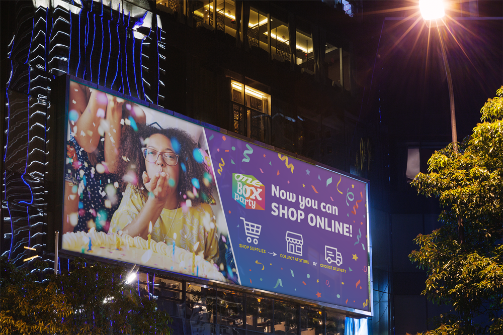 One Box Party Trinidad – Online Store Launch  Campaign Billboard