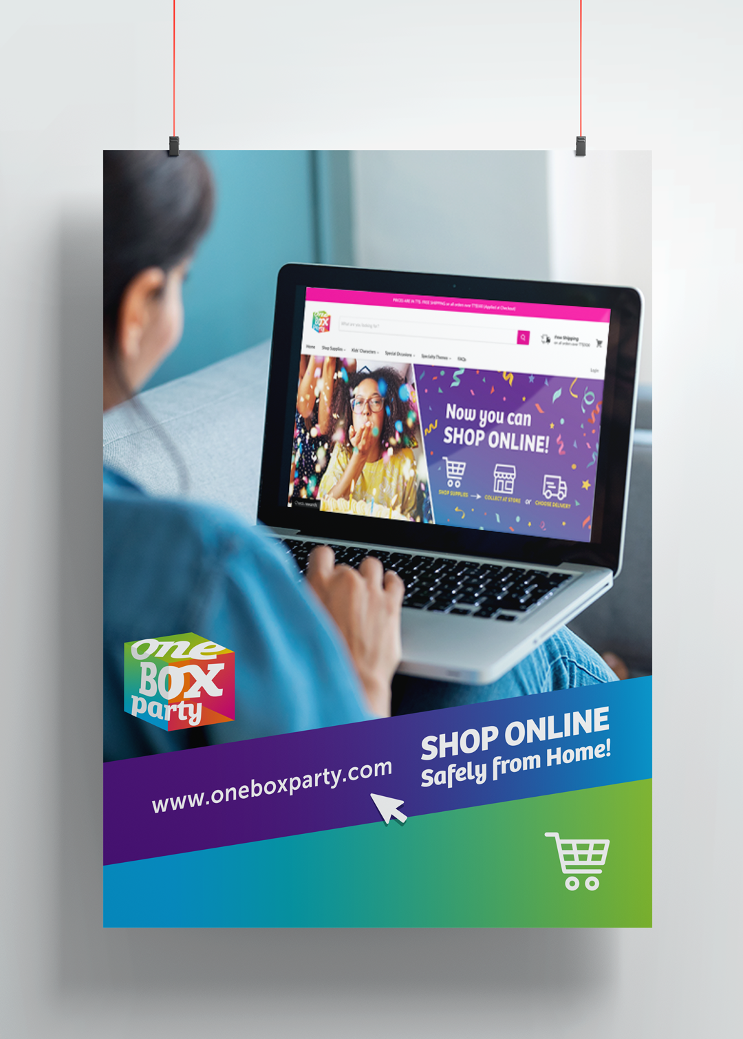 One Box Party Trinidad – Online Store launch posters
