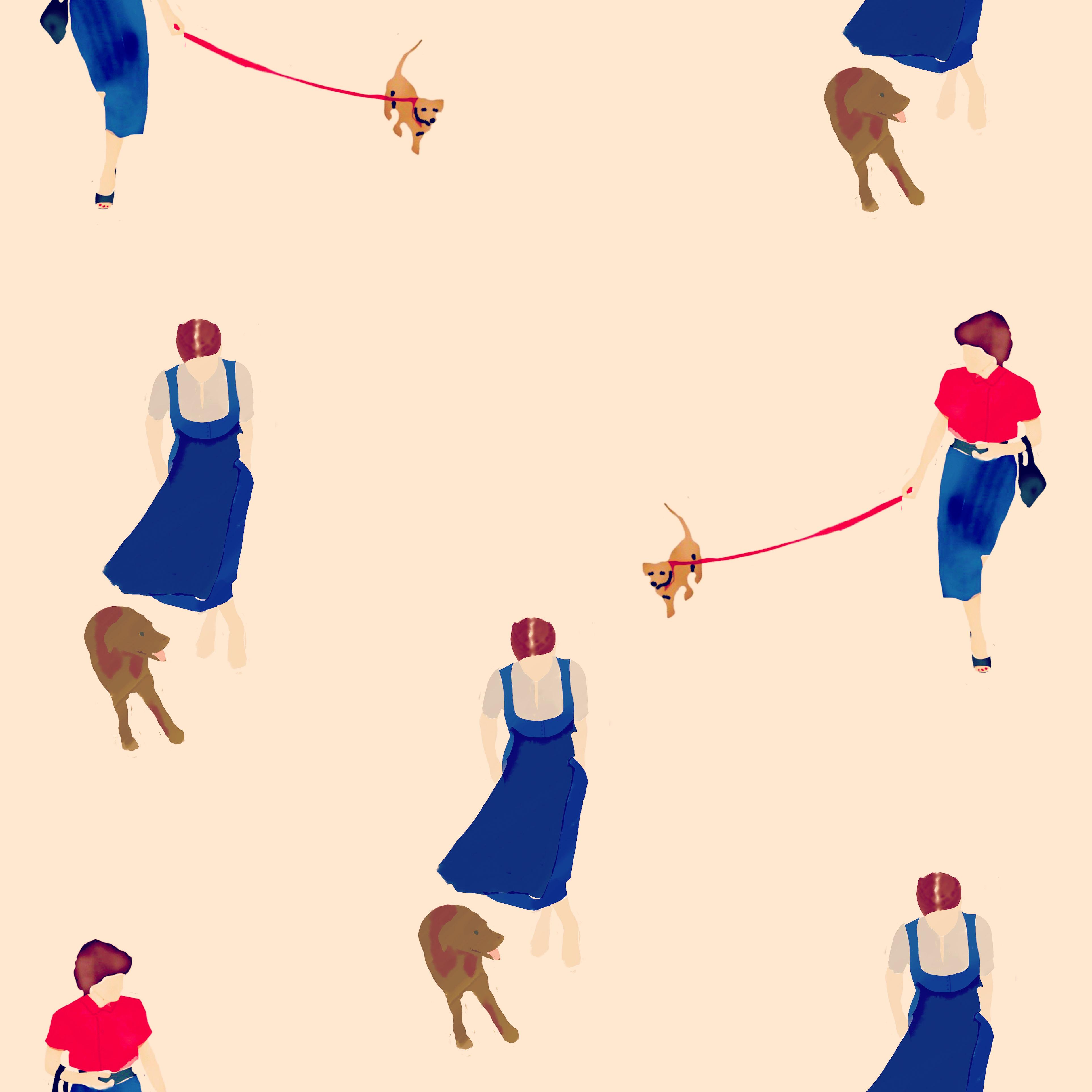 Illustration München Dame mit Hund
