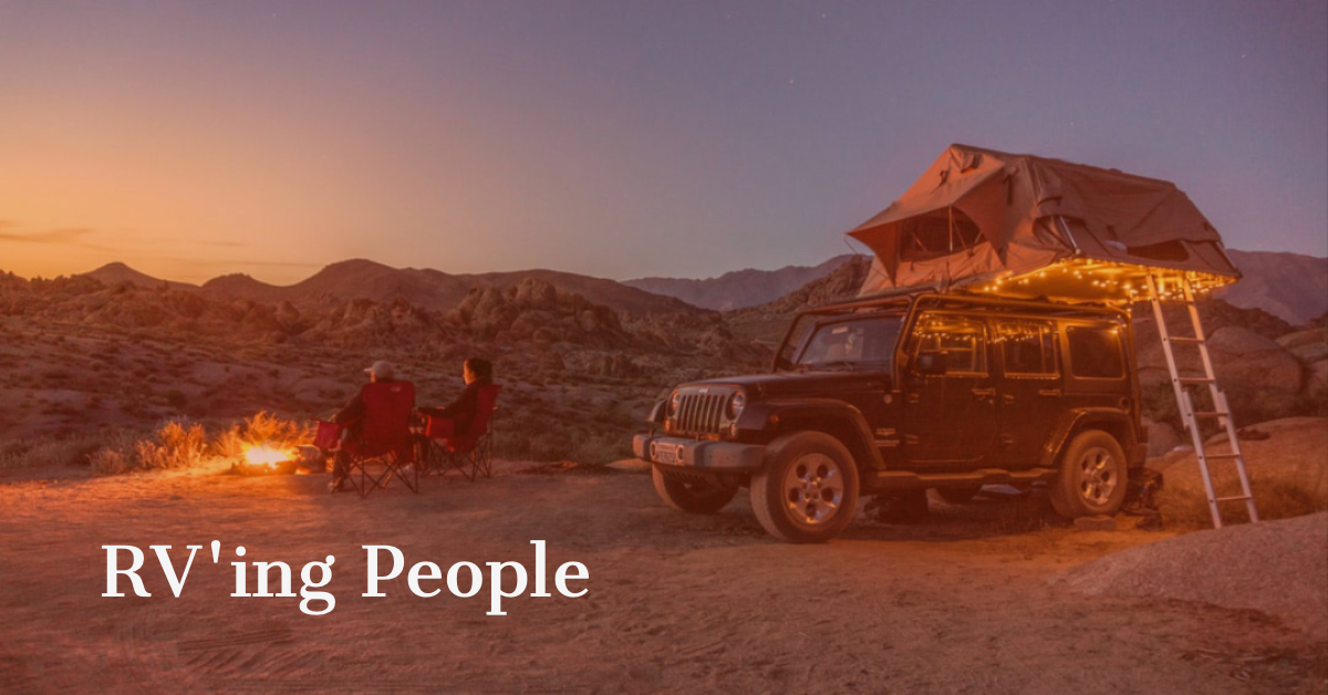 Roof top tent on a jeep in the desert