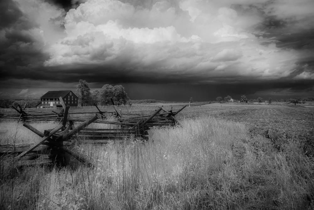 Storm building over a field in Infrared