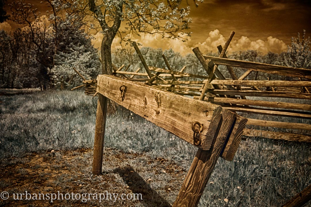 An infrared image of a hitching post at Gettsburg National Military Park.