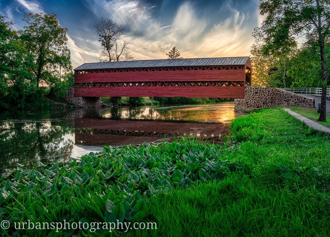 Sachs bridge at sunset in Gettysburg.