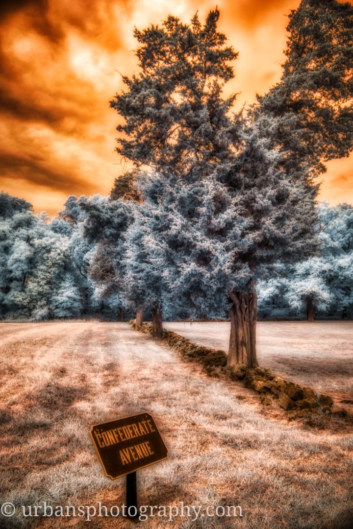 Confederate ave sign in infrared.