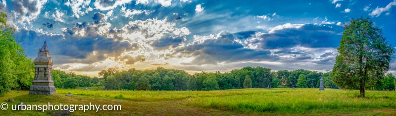 Pano of sunset at The Wheatfield in Gettysburg.