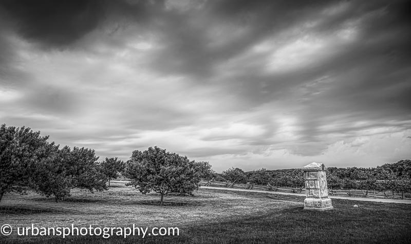 Long exposure storm over the Peach Orchard in Gettysburg.