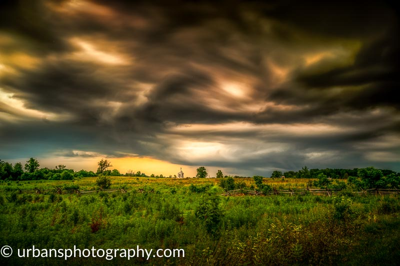 Five Minute exposure of a storm over the Pennsylvania monument in Gettysburg National Military Park.