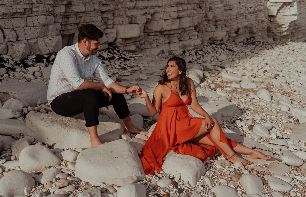 Beach engagement photos at Flamborough Head in Dune's Dyke