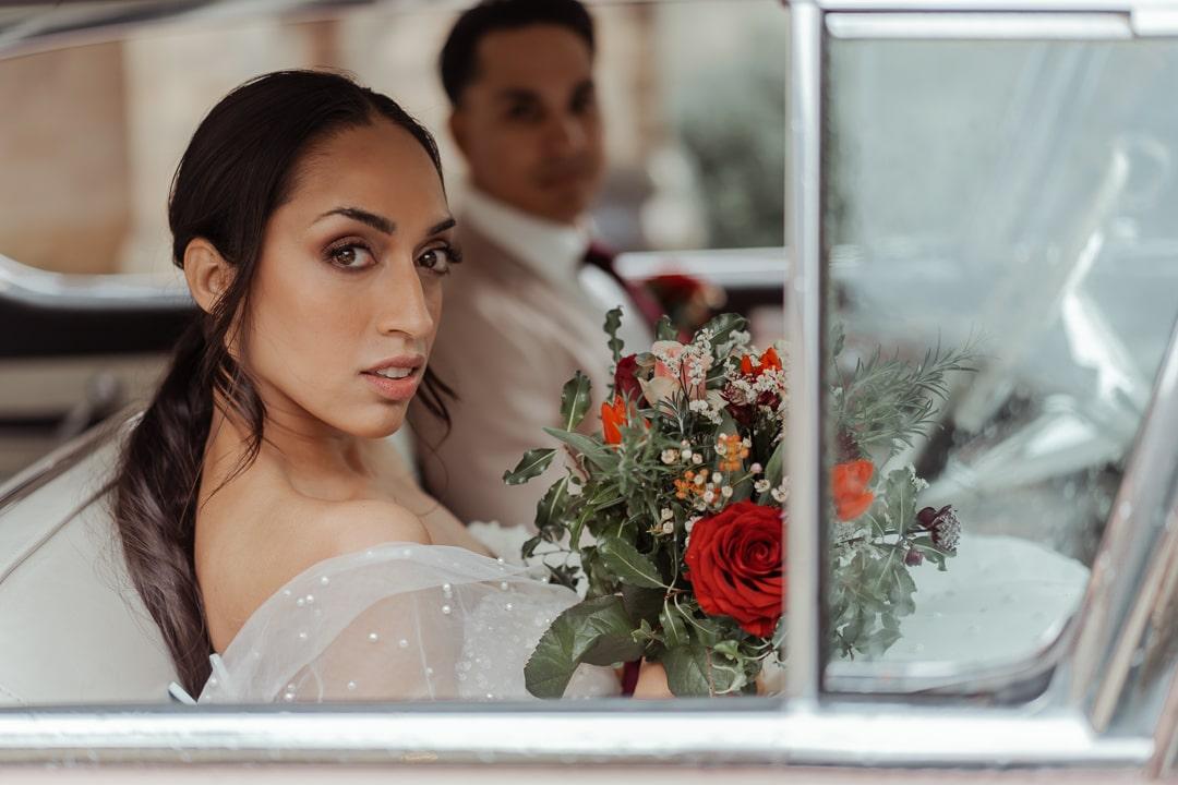 Bridesmaid poses