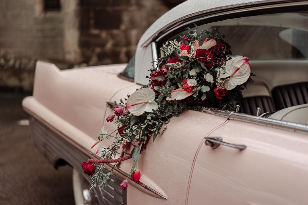 pink cadillac wedding car