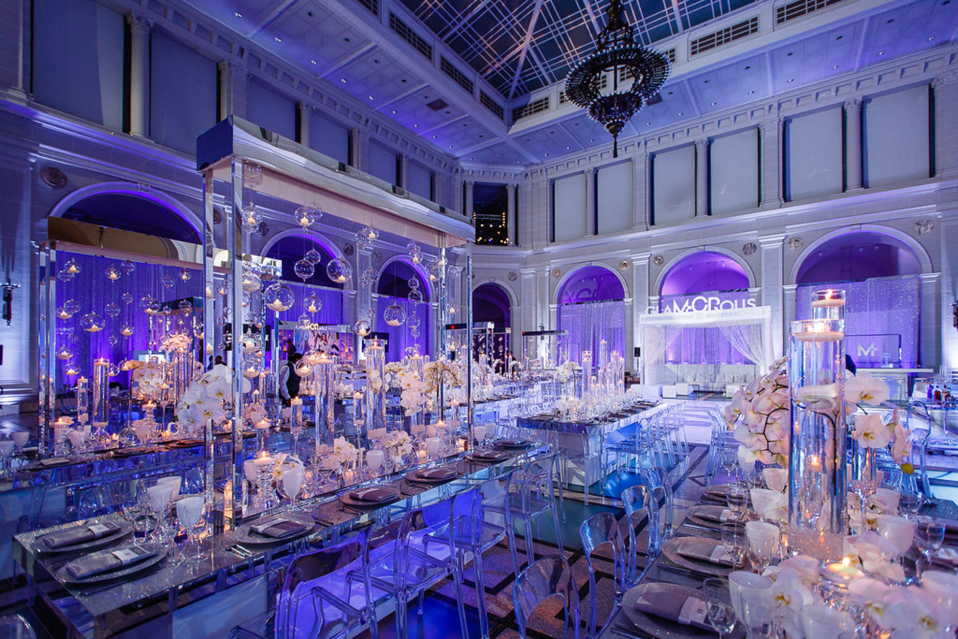 Event venue, decorated table tops for glamorous Bat Mitzvah.