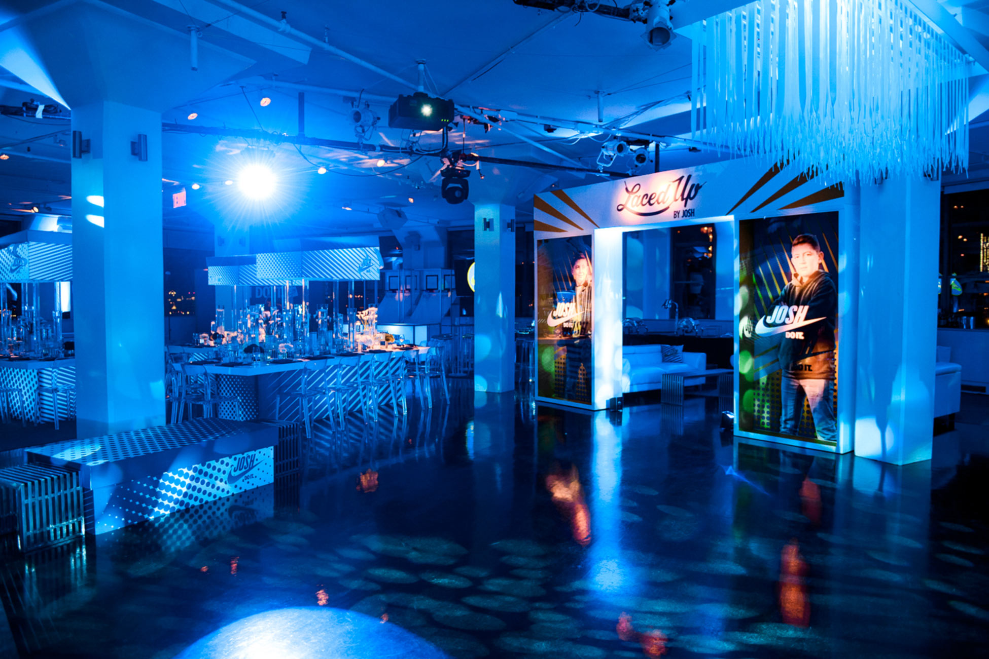 Event venue, decorated in sneaker theme for Bar Mitzvah.
