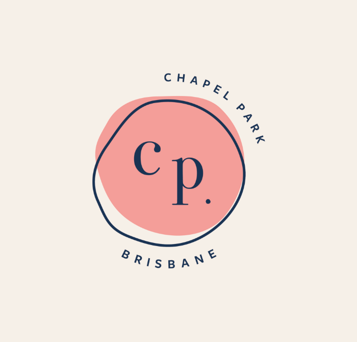 A stylish pastel pink and navy icon logo for Chapel Park Cafe