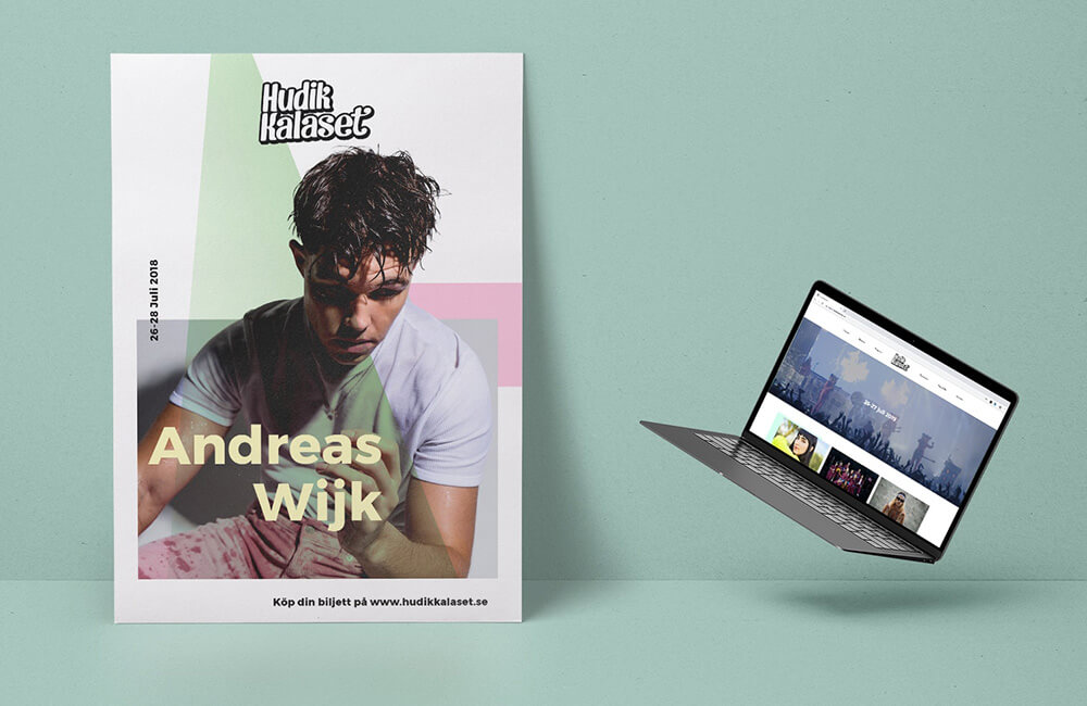 Poster showing Andreas Wijk and an open macbook with hudik kalasets landing page.