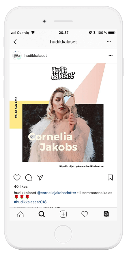 instagram post of cornelia jacobs showed in an iphone