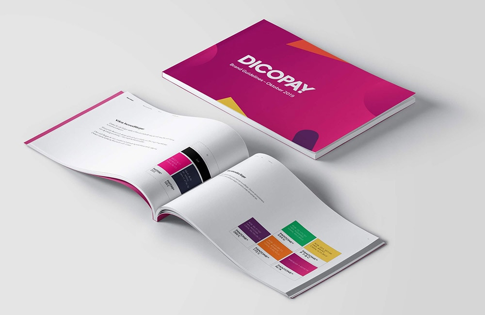 open book showing pages from the brand book for dicopay