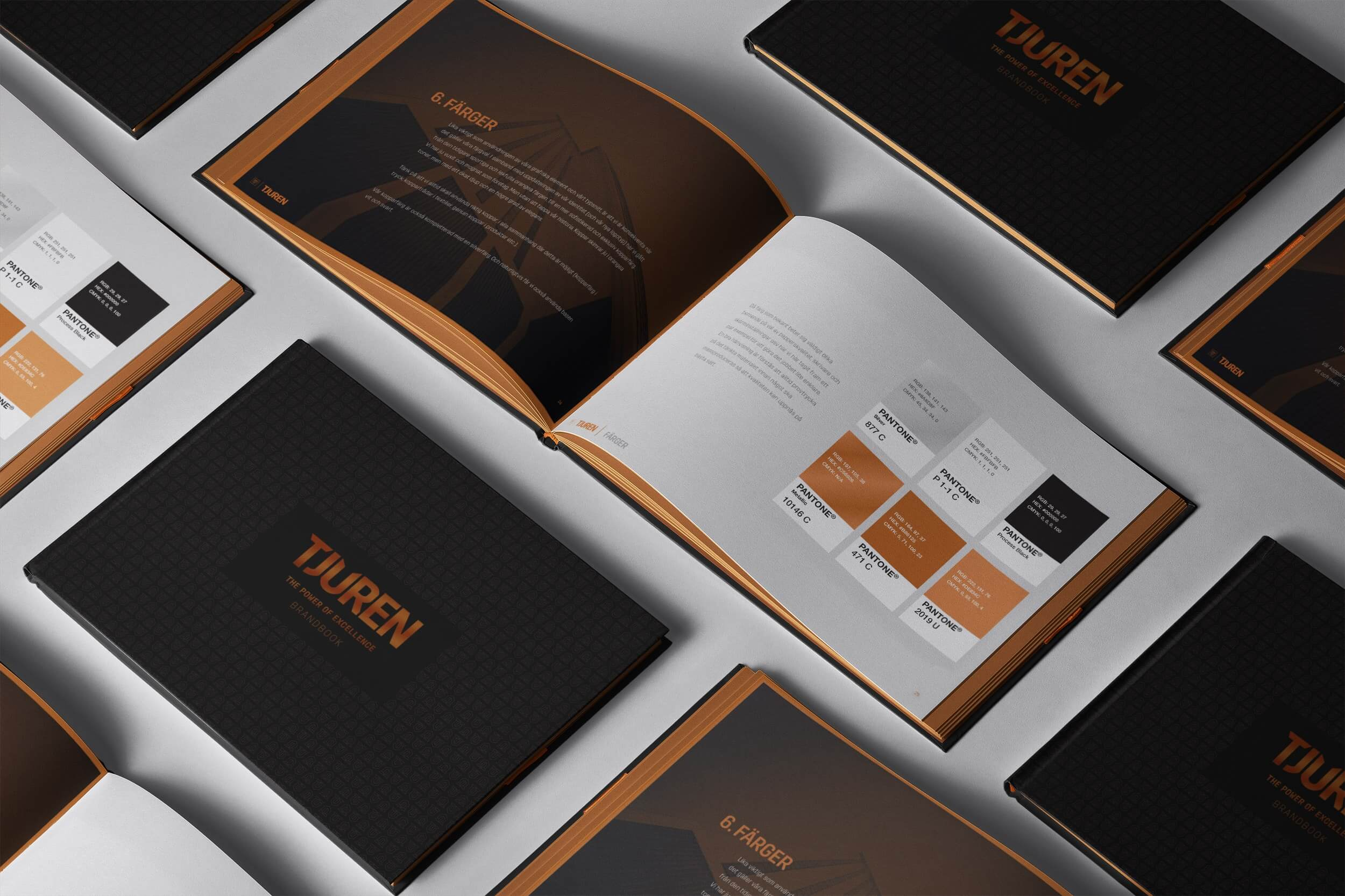 open book showing pages of the brand guidelines for tjuren.