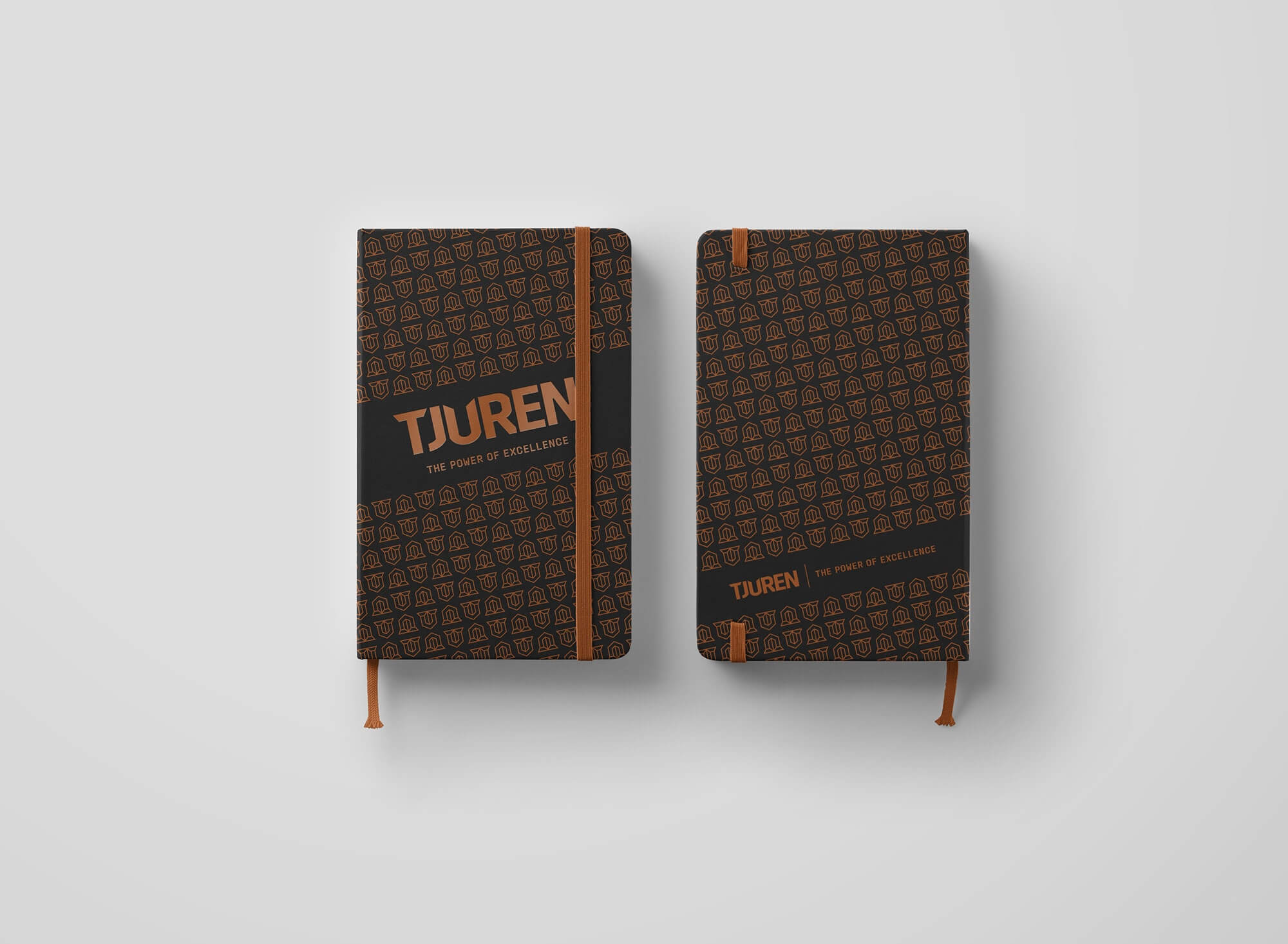 front and back of a notebook with tjurens logo and pattern