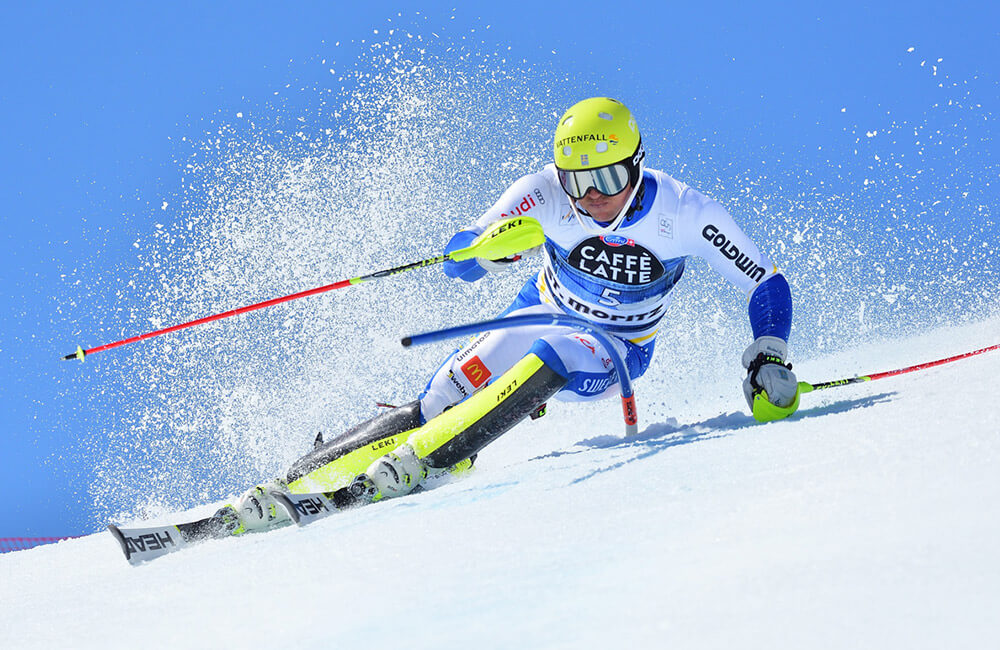 mpic skier andré myhrer midst a slalom turn