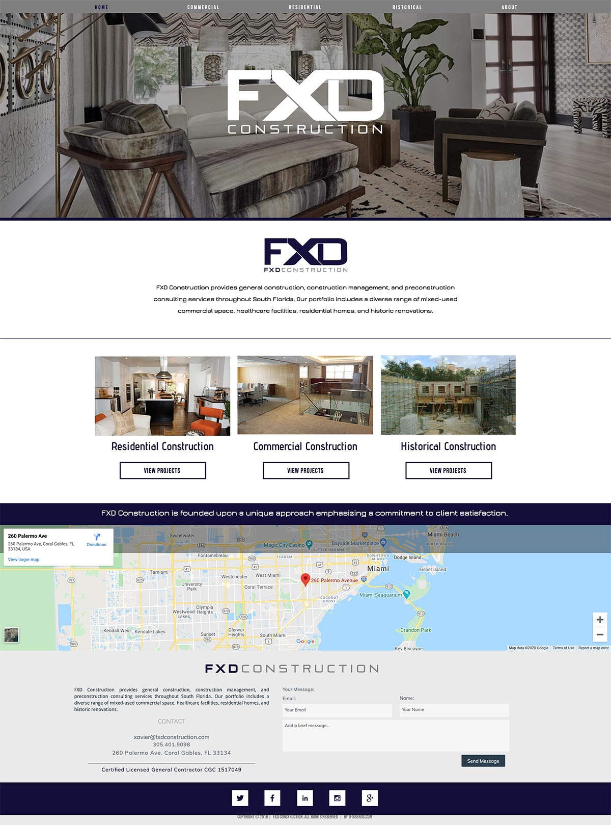 FXD Construction's old website