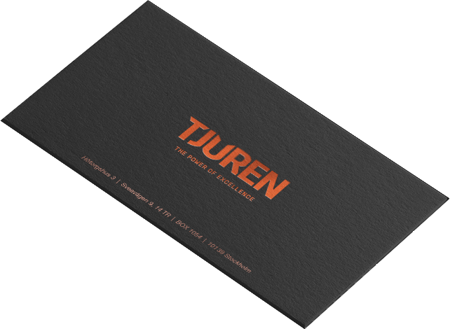 Flying businiess card with Tjuren logo.