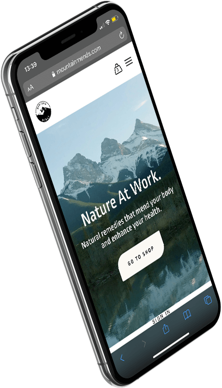 iPhone showing Mountain Mends landing page.