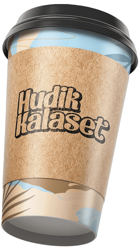 Paper coffee mug with Hudik kalaset logo.