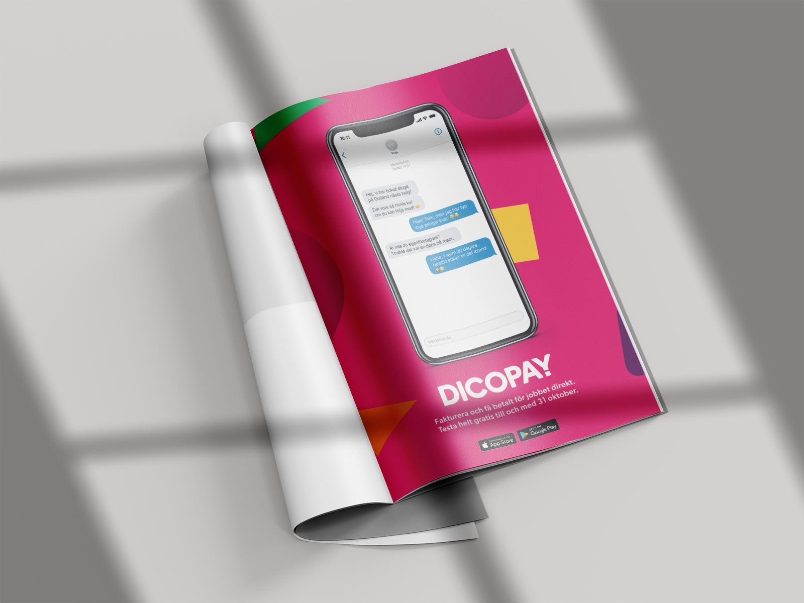 newspaper laying on flat surface showing a fullpage advertisement for dicopay.
