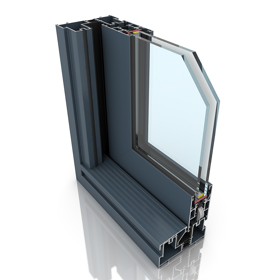 Front profile of Visoglide, an aluminium sliding door.