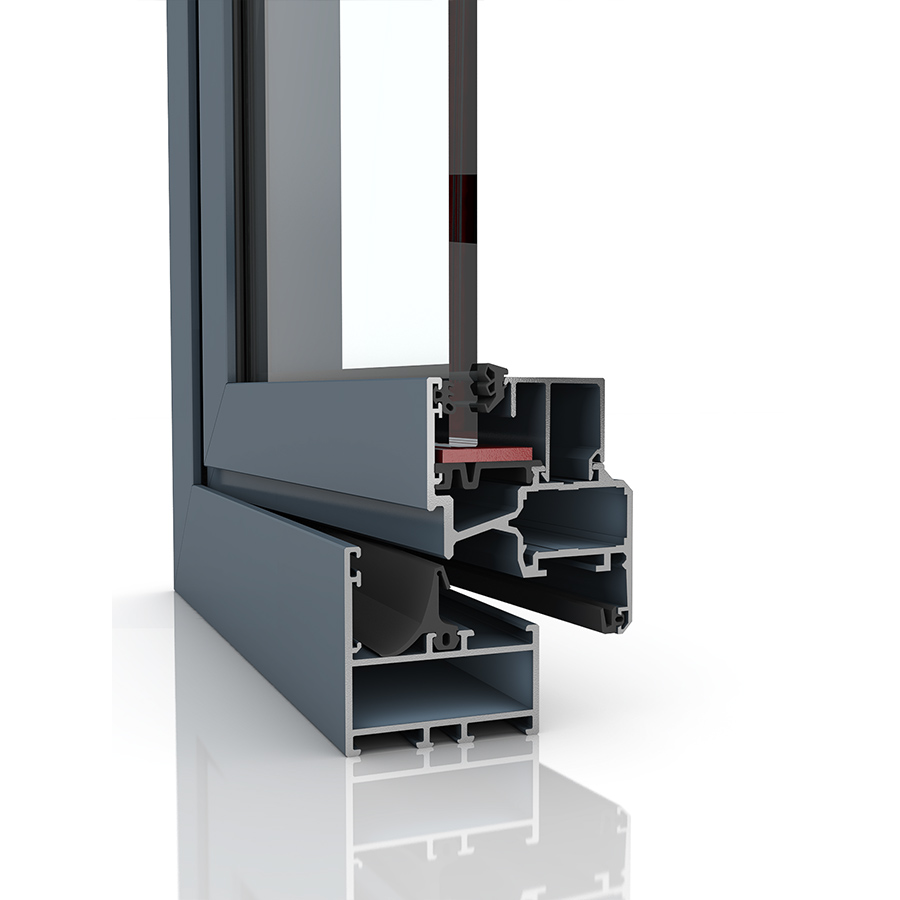 Image showing the inner structure of Econoline, an aluminium window and/or door.
