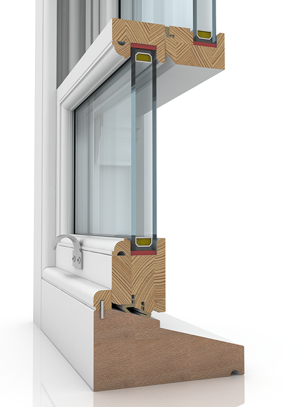Image showing the inner structure of Sash 50-86 Ogee & Staff Bead SBD, a wood window.