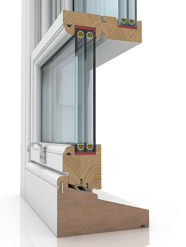 Image showing the inner structure of Sash 58-86 & Staff Bead ZLIC, a wood window.