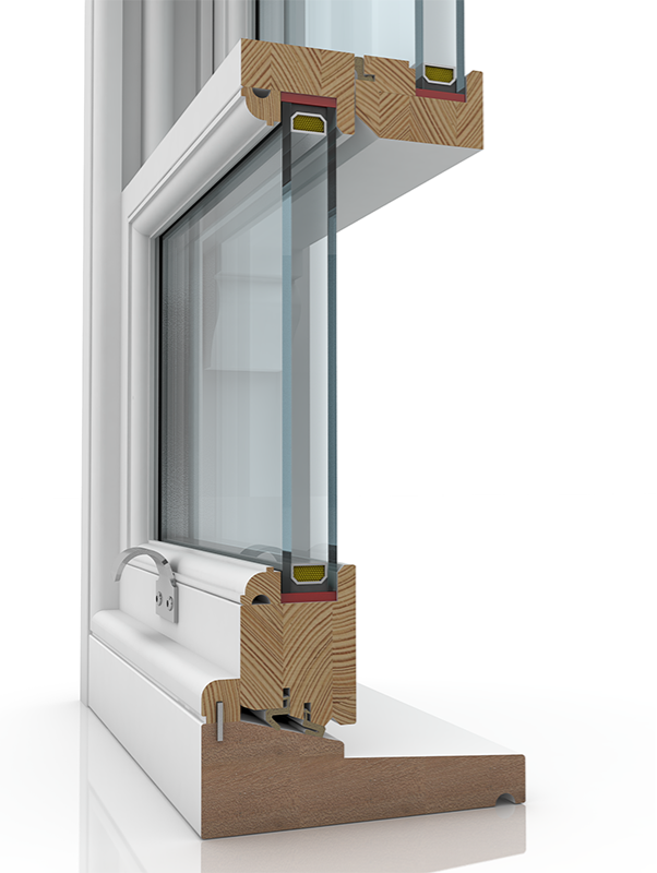 Image showing the inner structure of Sash Balance 50-45 Ogee & Staff Bead SBD, a wood window.