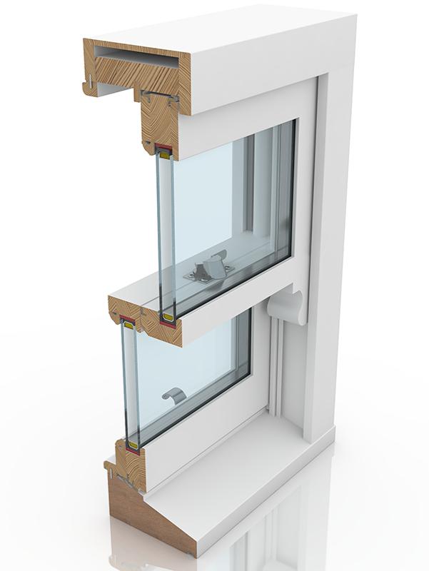 Back profile of Sash Balance 50-63 Lamb & Staff Bead WYST, a wood window.