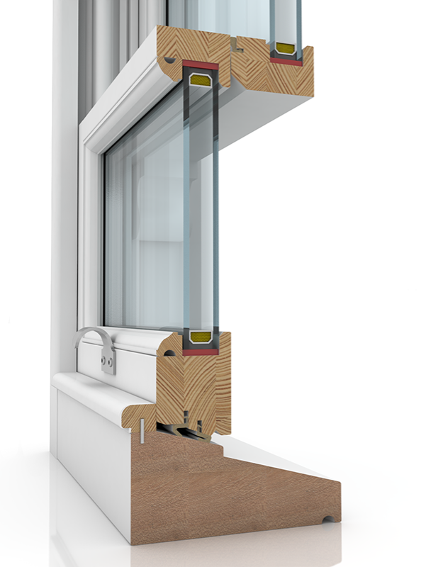 Image showing the inner structure of Sash Balance 50-63 Lamb & Staff Bead WYST, a wood window.