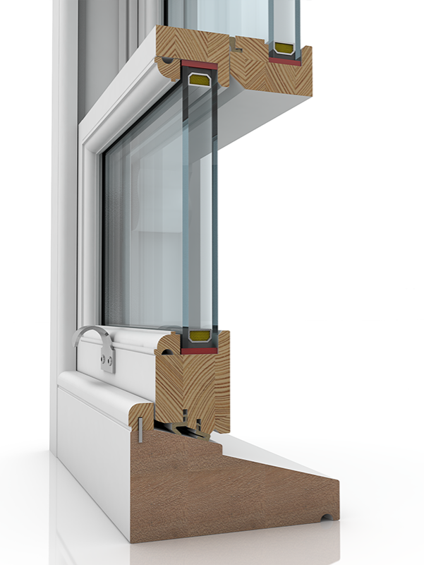 Image showing the inner structure of Sash Balance 50-63 Ogee & Staff Bead SBD, a wood window.