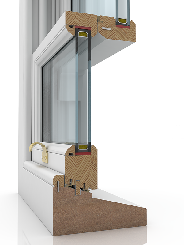 Image showing the inner structure of Sash BPL SBD 150 Lamb, a wood window.