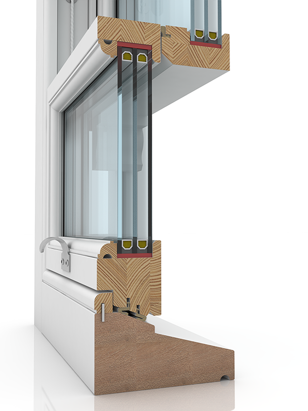 Image showing the inner structure of Sash Excellent Oglee & Staff Bead SBD, a wood window.