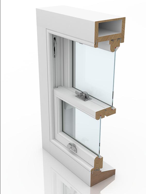 Front profile of Sash Renovation 4 & Staff Bead SBD, a wood window.